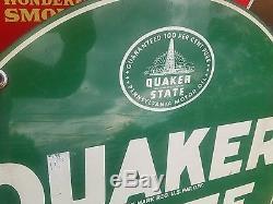 Vintage 59 Quaker State Motor Oil Steel Garage Sign Gas Station Large Green USA