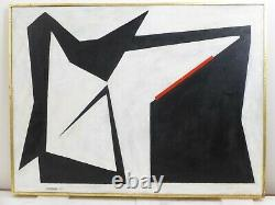 Vintage ABSTRACT GEOMETRIC BAUHAUS OIL PAINTING MID CENTURY MODERN Signed