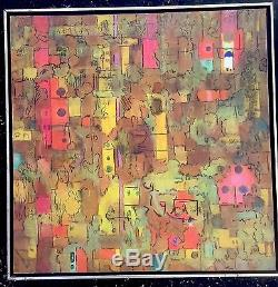Vintage ABSTRACT MODERNIST OIL PAINTING MID CENTURY MODERN COLORIST Signed