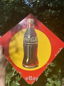 Vintage AM-4-46 Post War Coca Cola Masonite sign original gas oil advertising
