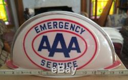 Vintage Aaa Advertising Lighted Sign Cab Topper Service Gas Oil Station N. O. S
