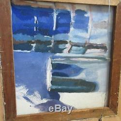 Vintage Abstract Geometric Painting Pop Surreal Modernism Signed Expressionism