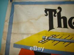 Vintage Advertising Sign Banner 1930 Car Graphics Oil Can Gas Station Original