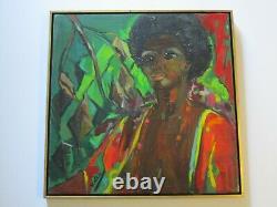 Vintage African American Nude Painting Portrait By Hazel Impressionist Modernism