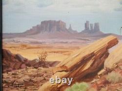 Vintage American Landscape With Cowboy Desert Horse Rock Formations Western Art