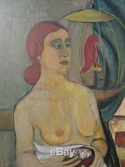 Vintage American Wi Expressionist MID Century Mod Redhead Nude Birdcage Painting