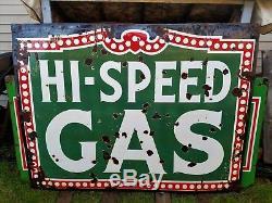 Vintage Antique Hi-speed Gas Pump Oil Service Station Porcelain Advertising Sign
