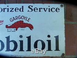 Vintage Antique Old Mobil Gargoyle Oil Bottle Stand Enamel Sign Petrol Station