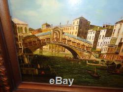 Vintage/Antique Signed Oil on Board Painting of Venice Canal With Bridge of Sighs