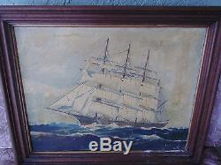 Vintage Antique signed T Bailey Nautical Boston Clipper Ship Oil Canvas Painting