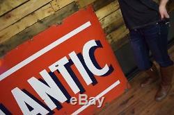 Vintage Atlantic Gas Oil 2 Sided Porcelain Sign 6ft nice shape Service Station