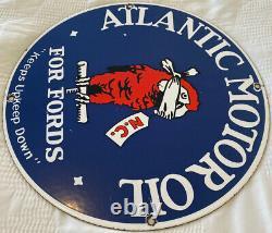 Vintage Atlantic Motor Oil For Ford's Porcelain Sign Gas Station Pump Service