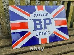 Vintage BP Motor Spirit Enamel Advertising Sign Automobilia Motoring Petrol Oil