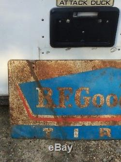 Vintage B. F. Goodrich Tires Double Sided Sign Advertising Original Gas Oil Old