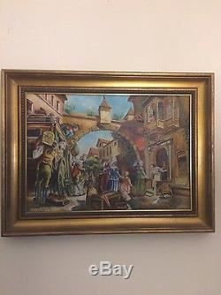 Vintage Barcelona Spain, Oil Painting On Canvas, Signed Ramos