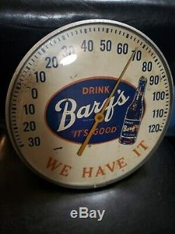 Vintage Barq's Root Beer Round Advertising Thermometer Sign Gas Station Oil