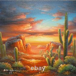 Vintage Bernard Duggan Landscape Oil Painting Southwestern Desert Sunset 12 x 16
