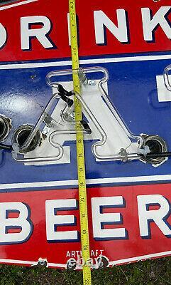 Vintage Blatz Beer Porcelain Metal Neon Sign Bar Beverage Oil Gas Station Nice