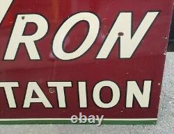 Vintage CHEVRON GAS STATION Sign Porcelain 78 x 36 RARE Standard Oil