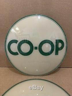 Vintage CO-OP Gas Pump Globe Lenses Glass Top Sign Oil Service Station Garage