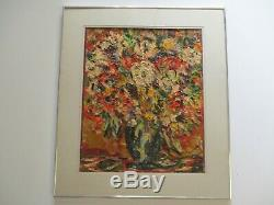 Vintage Chunky Oil Painting Modernist Still Life Floral Flowers Abstract 1970's