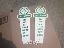 Vintage Cities Service Rest Room key holders kansas Gas Oil Service Station Sign
