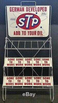 Vintage Collectible Advertising Stp Oil And Gas Display Stand Embossed Sign