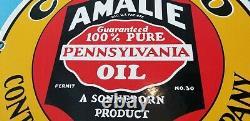 Vintage Conoco Gasoline Porcelain Amalie Gas Oil Service Station Pump Sign