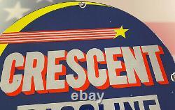 Vintage Crescent Gasoline Porcelain Sign Gas Station RPM Motor Oil Pump Plate