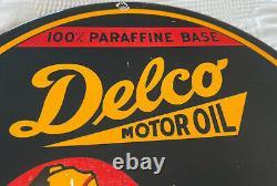 Vintage Delco Motor Oil Porcelain Sign Independent Service Station Pump Plate