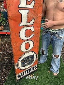 Vintage Delco Tire Battery Vertical Sign Gasoline Gas Oil 70X19in