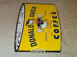 Vintage Donald Duck Coffee Die-cut Can 7 3/4 Porcelain Metal Gasoline Oil Sign