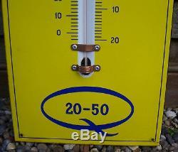 Vintage Duckhams Oil Enamel Sign Thermometer. Vintage Garage. Enamel Sign