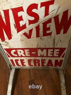 Vintage Eat West View Ice Cream Metal Double Sided Sign In Frame Gas Oil