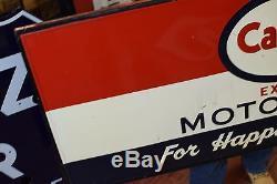 Vintage Esso Carter sign Tin wood frame backing rare 1950's Gas Station Oil Adv
