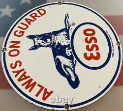 Vintage Esso Gasoline Porcelain Sign Gas Service Station Pump Plate Motor Oil
