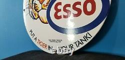 Vintage Esso Gasoline Porcelain Tiger Motor Oil Service Station Pump Plate Sign
