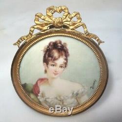 Vintage Estate French Hand Painted Gold Ormolu Framed Bone Oil Portrait Signed