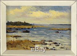 Vintage Estonian Orginal Oil on Panel Landscape Illegibly Signed qqoo