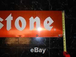Vintage FIRESTONE TIRES Advertising 2-Sided GAS OIL ORANGE Advertising Sign
