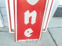 Vintage FIRESTONE TIRES Vertical Bowtie GAS OIL STATION Advertising Metal SIGN
