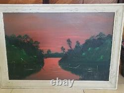 Vintage Florida Highwaymen by Curtis Arnett Fire Sky 24X36 Upson RARE
