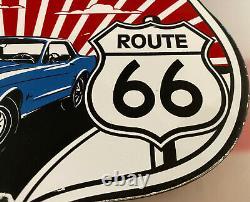 Vintage Ford Route 66 Porcelain Dealership Sign Motor Oil Gasoline Chevrolet