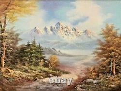 Vintage Framed Oil Painting On Canvas E. Robell Mountain Scene