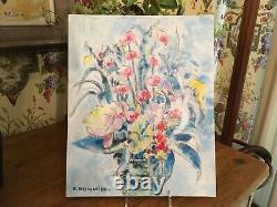 Vintage French Original Oil Painting of Pastel Flowers in Signed South of France