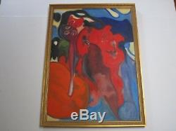 Vintage French Painting Expressionism Surrealism 1960's Paris Abstract Pop