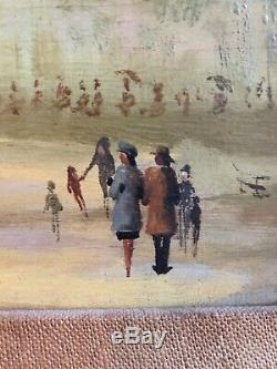Vintage French Signed Pierre Oil Board Paris Carousel Scene Impressionistic