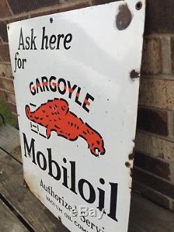 Vintage Gargoyle Mobile Oil Porcelain Sign 24 X 19-1/2 Mobiloil Authorized