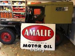 Vintage Gas & Oil Amalie Pennsylvania Motor Oil Sign 1957 Antique Authentic A-M