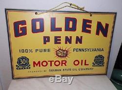 Vintage Golden Penn Motor Oil Double Sided Wooden Advertising Sign 24 Long